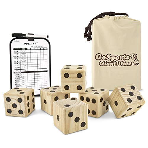 GoSports Giant Wooden Playing Dice Set with Bonus Rollzee Scoreboard – Includes 6 Dice, Dry-Erase Scoreboard and Canvas Carrying Bag (Choose 2.5″ Dice or 3.5″ Dice)