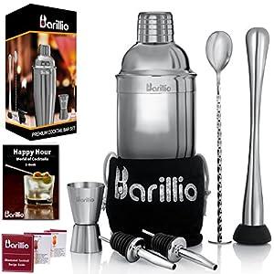 Elite Cocktail Shaker Set Bartender Kit by BARILLIO: 24 oz Stainless Steel Martini Mixer, Muddler, Mixing Spoon, jigger, 2 liquor pourers, Velvet Bag, Recipes Booklet & eBook