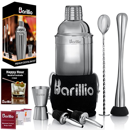 - Elite Cocktail Shaker Set Bartender Kit by BARILLIO: 24 oz Stainless Steel Martini Mixer, Muddler, Mixing Spoon, jigger, 2 liquor pourers, Velvet Bag, Recipes Booklet & eBook