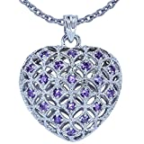 Genuine Amethyst Puffed Heart Pendant Set in Sterling Silver - 18