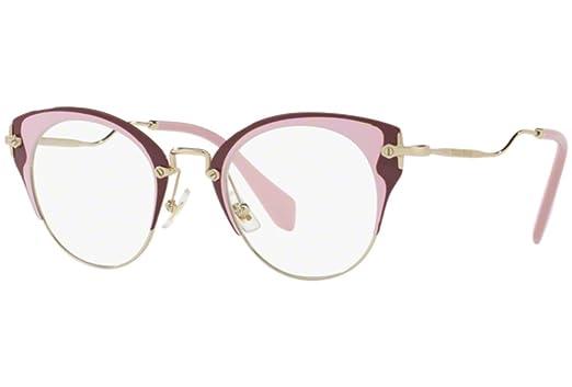 4e9b433eeb66 MIU MIU Eyeglasses MU52PV U651O1 Pale Gold/Pink/Amaranth at Amazon ...