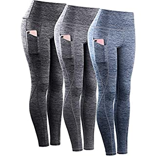 Neleus Tummy Control High Waist Workout Running Leggings for Women,9033,Yoga Pant 3 Pack,Black,Grey,Navy Blue,M,EU L