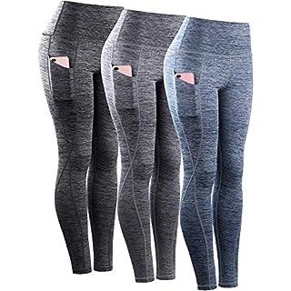 Neleus Tummy Control High Waist Workout Running Leggings for Women,9033,Yoga Pant 3 Pack,Black,Grey,Navy Blue,2XL,EU 3XL