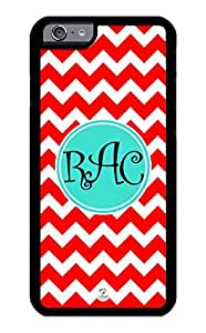 linJUN FENGiZERCASE iPhone 6 PLUS Case Monogram Personalized Red and White Chevron Pattern RUBBER CASE - Fits iPhone 6 PLUS T-Mobile, AT&T, Sprint, Verizon and International (Black)