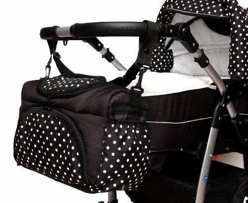 TP-09 Wickeltasche PIA von Baby-Joy XXXL Übergröße Navy Blumen Windeltasche Pflegetasche Babytasche Tragetasche