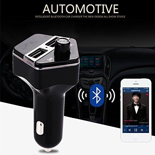 Duoying Bluetooth inalámbrico para vehículo del vehículo Reproductores de MP3 Transmisor de FM Cargador Doble USB