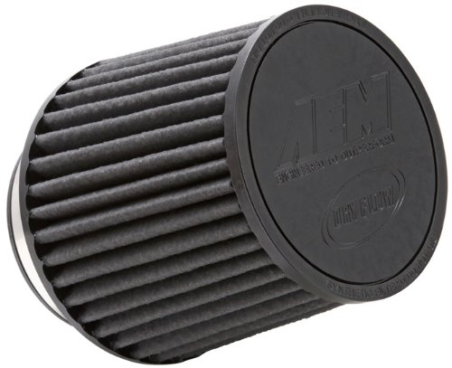 AEM 21-203BF Universal DryFlow Clamp-On Air Filter: Round Tapered; 3 in (76 mm) Flange ID; 5.125 in (130 mm) Height; 6 in (152 mm) Base; 5.125 in (130 mm) Top ()