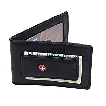 Slim & Thin Money Clip Front Pocket Wallet with Magnet Clip ID Window 3 Cards Soft leather