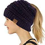 CC Ponytail Messy Bun BeanieTail Soft Winter Knit Stretchy Beanie Hat Cap Confetti Navy