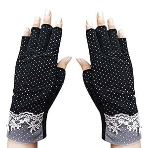 JIAHG Summer Driving Gloves Women Sunscreen Half Finger Fingerless Gloves Breathable Summer UV Protection Cycling Gloves Gym Fitness Workout Motorcycling Cotton Antislip Gloves