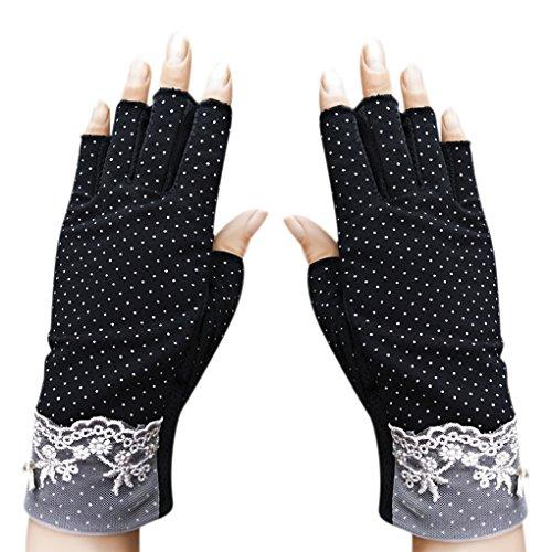 Sommer Halbfinger Handschuhe Baumwolle Fahrradhandschuhe Kurz Spitzenhandschuhe Anti-Rutsch, Anti-UV Schutz, Dünn Sonnenschutz Fäustlinge Gloves für Fahren Motorrad Radfahren