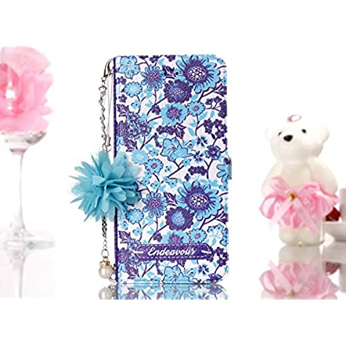 new JuSha for Huawei P10 LITE Case PU Leather Wallet Magnetic Cover Skin (Blue and White Porcelain)