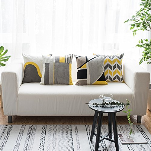 Lananas Modern Decorative Throw Pillow Covers for Couch Geometric Home Cushion Pillow Cover for Bed 18'' x 18'' (Slash) by Lananas (Image #5)