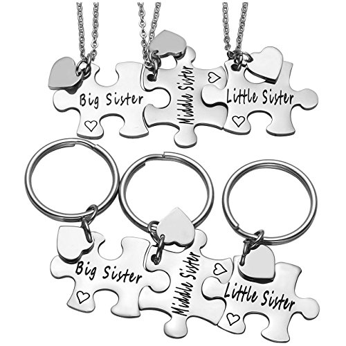 PiercingJ 6pcs Personalized Custom Engraved Name puzzle Keychain Necklace Set Key Chain Rings for Sisters Best Friend Birthday +Gift Box