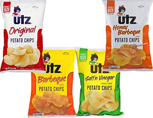 Utz Quality Foods 9.5 oz. Family Size Variety 4- Pack Potato Chips (Original, BBQ, Salt 'n Vinegar, Honey BBQ)