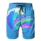 FCWQJH Psychedelic Dolphins Sports Beach Pants Yoga Boardshort