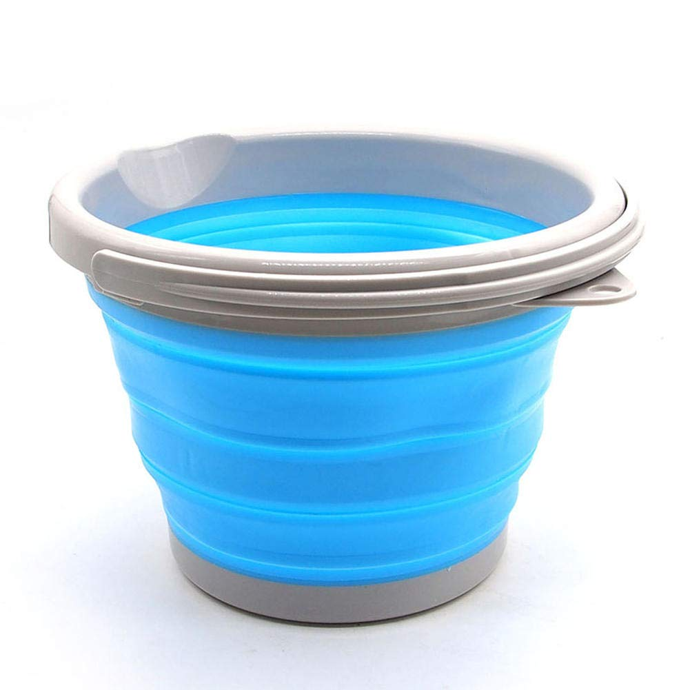F.S.M. New 5L Folding Water Bucket Silicone Ice Beer Wine Bottle Barrel Pail Container - Blue by F.S.M.