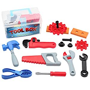 mumu sugar children toy tool box pretend play set with 15 construction accessories. Black Bedroom Furniture Sets. Home Design Ideas