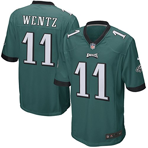 NIKE Men's NFL Philadelphia Eagles Wentz Game Jersey Sport Teal/Black Size XX-Large