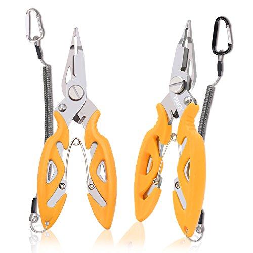 Stainless Fishing Pliers (2 Pack) - VIMOV Saltwater Fishing Pliers with Fishing Lanyards for Kayak and Wading, (Hook Remover, Braid Line Cutter, Split Ring Opener) ()