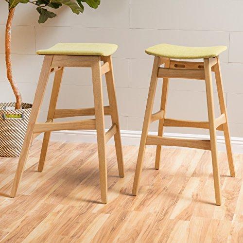 Christopher Knight Home 298980 Emmaline Fabric/Oak Finish Bar Stool (Set of 2), Green -