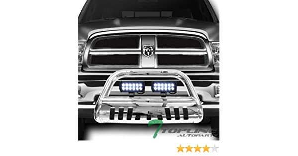 36W CREE LED Fog Lights For 09-18 Dodge Ram 1500//2019 Classic Topline Autopart Polished Stainless Steel Bull Bar Brush Push Bumper Grill Grille Guard With Skid Plate