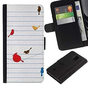 LASTONE PHONE CASE / Lujo Billetera de Cuero Caso del tirón Titular de la tarjeta Flip Carcasa Funda para Samsung Galaxy S5 Mini, SM-G800, NOT S5 REGULAR! / Birds Cute Drawing Minimalist