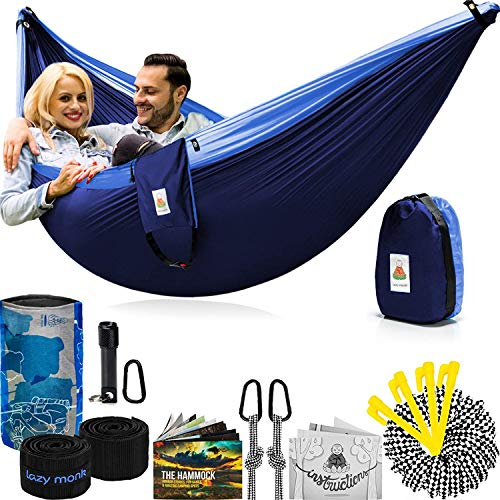 Lazy Monk Portable Camping Hammock Tent - 2 Person Hammocks with Tree Straps - Best Double Parachute Gear by Lazy Monk