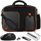 VanGoddy Orange Laptop Messenger Bag w/Flash Drive, Mouse & USB Hub for Dell Inspiron 3390 I5378 I5379 I7378 I7373 7375 7390 2-in-1 13.3'' Touch-Screen Laptop