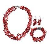 Handmade Multi Strand Beaded Silvertone Bracelet 8' Earrings Necklace 20' Jewelry Gift for Women