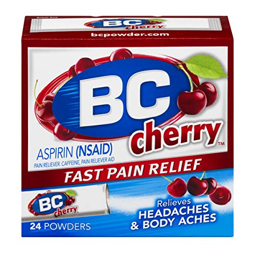BC Powder | Fast Pain Relief | Aspirin (NSAID) & Caffeine | Cherry | 24 Count ()