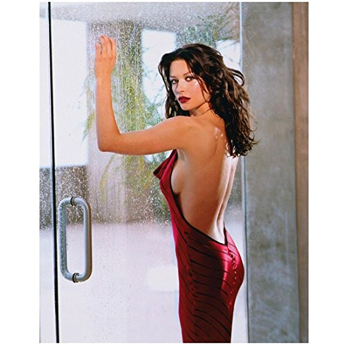 catherine-zeta-jones-8-x-10-photo-red-halter-dress-hands-on-rainy-window-messy-wavy-hair-pose-2-kn