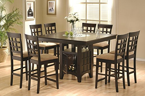 Coaster Hyde 9 Piece Counter Height Dining Set in Cappuccino Counter Height Nine Piece
