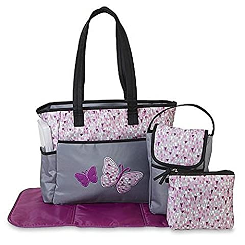 Tender Kisses 5-Piece Diaper Bag Set - Butterfly