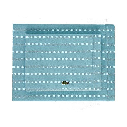 Lacoste 100% Cotton Percale Sheet Set, Dot Stripes Print, Cameo Green, Twin