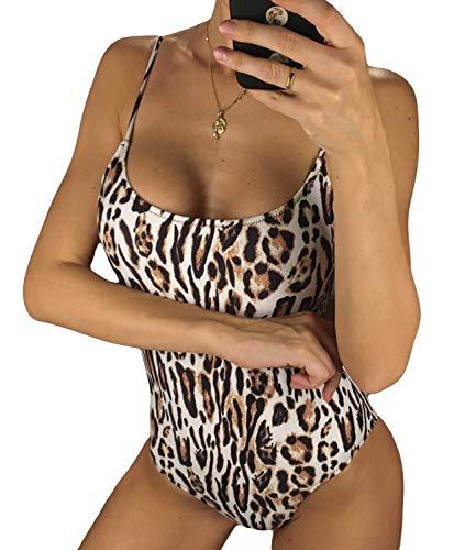 (KIWI RATA 2019 Sexy One Piece Swimsuit Women Swimwear Female Solid Bikini Black Thong Backless Monokini Bathing Suit (#3 Leopard, Small (fits Like US 2)))