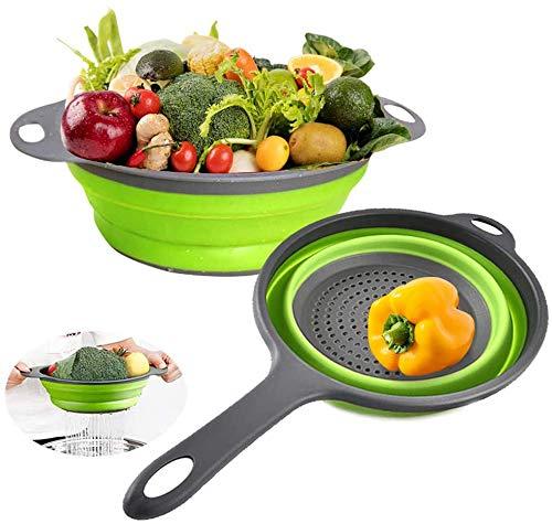 Silicone Collapsible Colander Set, Nanateer Kitchen Colander Strainer, Over the Sink Vegetable Fruit Flexible Pasta Strainer, Folding Strainer for Kitchen (2 Pack)