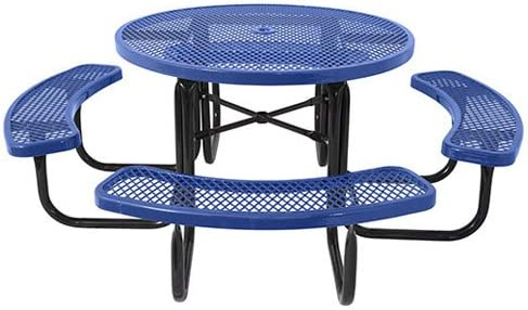 ultraPLAY 46 Steel Round Picnic Table, Surface Mount, Blue
