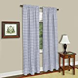 Achim Home Furnishings Buffalo Check Kitchen Curtain Tier, Black/White, 58 x 36-Inch, Set of 2, Panel 42″ x 84″ Grey Review