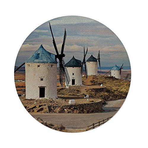 iPrint Cotton Linen Round Tablecloth,Windmill Decor,Medieval Spain Windmills in Consuegra Old Historical Landmark Decorative,Blue White Light Brown,Dining Room Kitchen Table Cloth Cover by iPrint