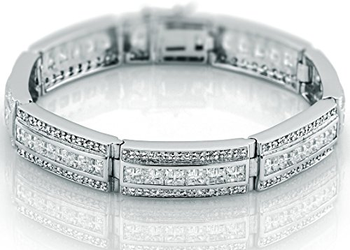 Channel Set Cubic Zirconia Bracelet (Men's Sterling Silver .925 Bracelet with 183 Channel set Fancy Princess and Elegant Round Cubic Zirconia (CZ) Stones, Box Lock, Platinum Plated. Sizes available 8