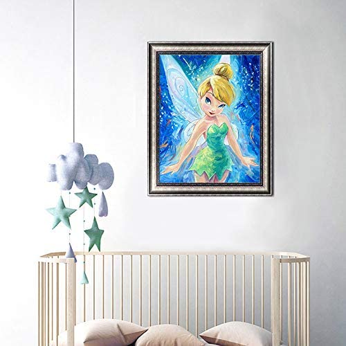 40cm 10 Jingchen Will Full Drill 5D Bricolage Diamant Peinture Strass Fleurs de Cristaux Kits de Broderie Arts Artisanat et Couture Point de Croix Mural (Fleur F/ée 50