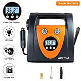 AIMTOM Portable Air Compressor Pump, Auto Digital Tire Inflator, 12V 100 PSI Tire Pump for Car, Truck, Motorcycle, SUV, RV and Other Inflatables