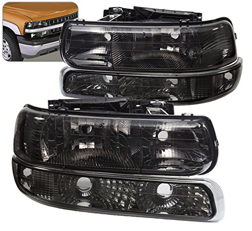 4 Piece Replacement Front Driving Park Head Light with Turn Signal Bumper Lamps For Chevy Silverado (Smoke)