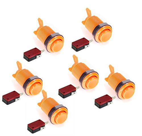 American Style 28mm Standard Arcade Push Button 6 Pack Orange With Microswitch by Atomic Market by Atomic Market