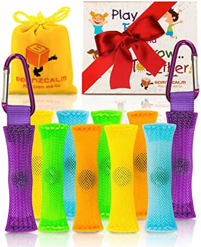 Born2Calm ADHD Fidget Toys Stress and Anxiety Relief - Pack of 10 Silent Sensory Fidgets for Classroom as Figits Sensory Toys for Kids with Carrying Pouch, 2 Carabiners and Bonus Paperback Story