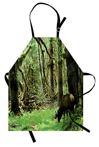 Ambesonne Rainforest Apron, Roosevelt Elk in Rainforest Wildlife National Park Washington Antlers Theme, Unisex Kitchen Bib Apron with Adjustable Neck for Cooking Baking Gardening, Forest Green
