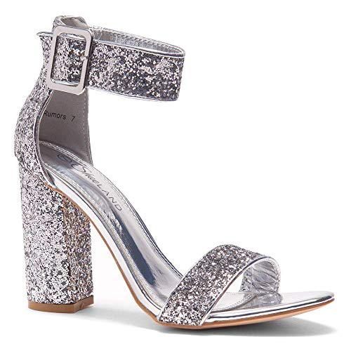 Herstyle Rumors Women's Fashion Chunky Heel Sandal Open Toe Wedding Pumps with Buckle Ankle Strap Evening Party Shoes SilverGlitter 6.5