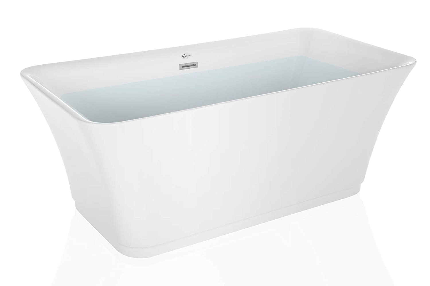 Empava Made In USA 59 Inch Luxury Freestanding Bathtub Acrylic Soaking SPA Tub Contemporary Design with Brushed Nickel Overflow and Drain FT1511X59, T1511, White