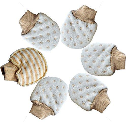 (Scratch Free Newborn Mitten Organic Cotton Mitts Baby Glove for Infant 0-6 Month Unisex (Autumn/Winter 3 Pairs))